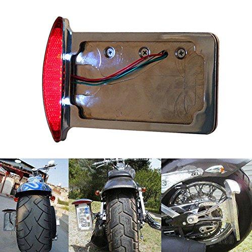 Motorcycle Side Mount License Plate Frame Tail Light Bracket for Bobber Chopper Harley (Chrome) ()