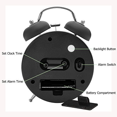 4'' Twin Bell Alarm Clock with Metal Dial, Nightlight, No Ticking Battery Operated Loud Alarm Clock for Bedroom (Black) by B.F.JOI (Image #3)