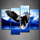 First Wall Art - Blue Bald Eagle Flying With Mountain Wall Art Painting The Picture Print On Canvas Animal Pictures For Home Decor Decoration Gift