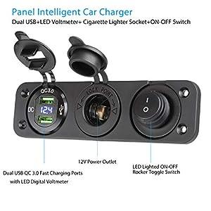 Linkstyle 4 in 1 Charger Socket Panel, QC 3.0 12V Dual USB Car Socket & LED Digital Voltmeter & Cigarette Lighter Socket Splitter & LED Lighted ON Off Rocker Toggle Switch for Truck Car Marine Boat RV (Color: Blue)