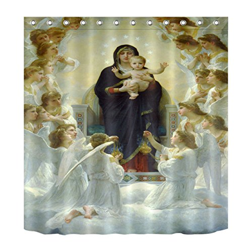 Baby God Bless Cross (LB Son of God Jesus Christ Bless Decoration Shower Curtain Polyester Fabric 3D 72x72 inch Mildew Resistant Waterproof Virgin Mary Newborn Baby Angel Bathroom Bath Curtains)