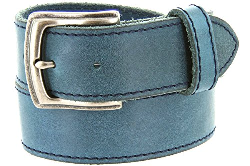 Made in Italy Full Grain Leather Casual Jeans Belt (40, Blue) ()