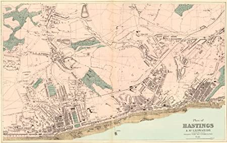 Hastings St Leonards Silverhill Blacklands 1883 Antique Map