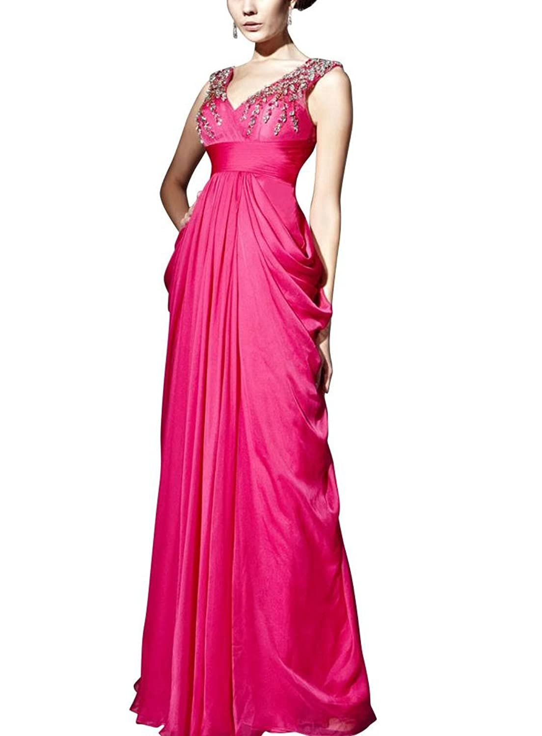 GEORGE BRIDE Fuchsia Sheath/ Column V Neck Floor-Length Chiffon Evening Dress With Beaded Lace Appliques