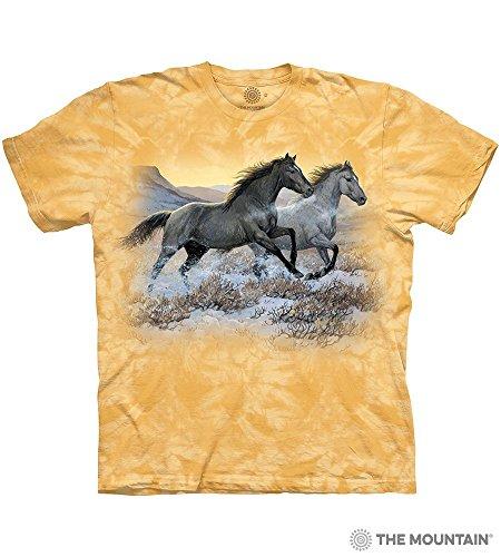 - Tuff America Running Free Small Cotton Horses T-Shirt Beeswax Adult Men's Women's Short Sleeve T-Shirt