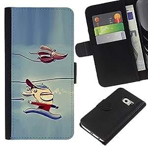 For Samsung Galaxy S6 EDGE Case , Dog Children'S Character Winter Ice - la tarjeta de Crédito Slots PU Funda de cuero Monedero caso cubierta de piel