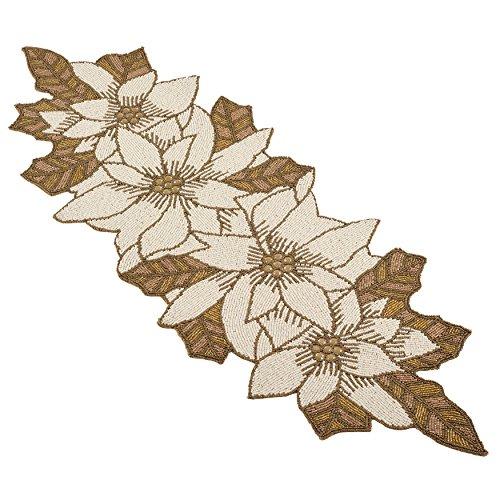 SARO LIFESTYLE Beaded Poinsettia Design Table Runner, 12