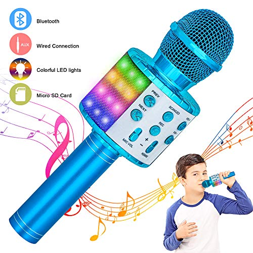 Verkstar Wireless Bluetooth 4 in 1 Karaoke Microphone, Portable Handheld Karaoke Machine Speaker Birthday Home Party Player with Record Function Christmas for Android & iOS All Devices (Blue)