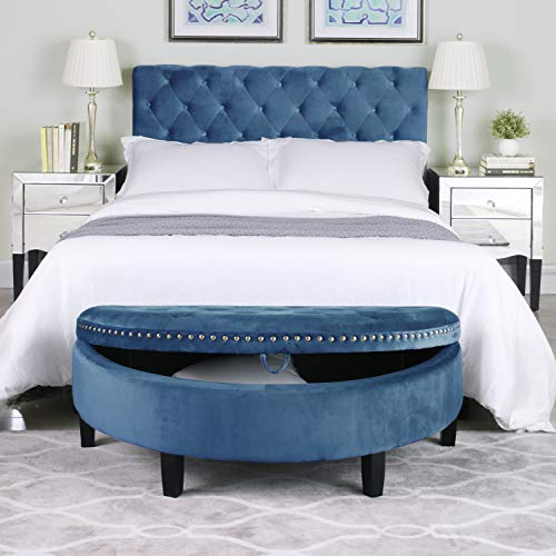 Iconic Home FON9172-AN Jacqueline Half Moon Storage Ottoman Button Tufted Velvet Upholstered Gold Nailhead Trim Espresso Finished Wood Legs Bench Modern Transitional Teal