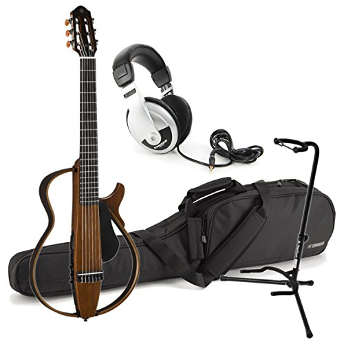 Yamaha SLG200N NT Nylon Silent Guitar 2015 New Model (Natural) w/ Gig Bag, Stand, and - Classical Yamaha Stand