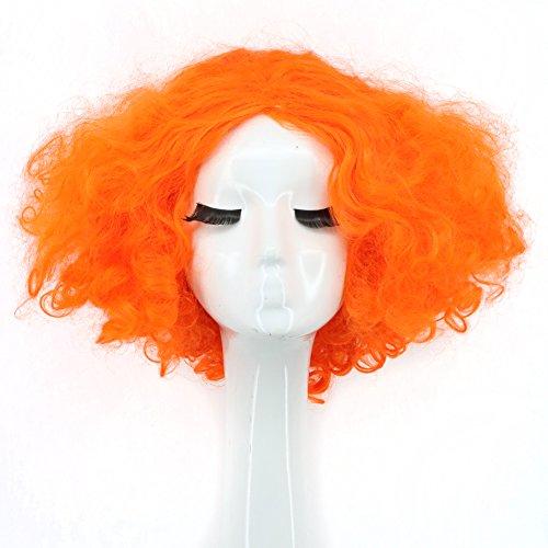 Yuehong Party Hair Short Orange Mens Wig Orange Curly Movie Cosplay Wigs]()