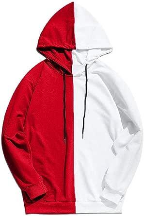 Manga larga de los hombres Sudaderas capucha medio negro medio blanco fresco liso sudaderas hombres patchwork algodón sudadera masculina