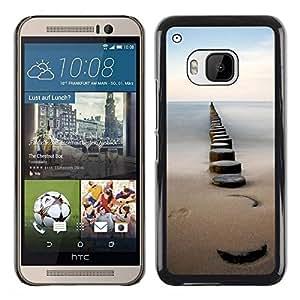 FECELL CITY // Duro Aluminio Pegatina PC Caso decorativo Funda Carcasa de Protección para HTC One M9 // Sea Pier Dock Sand Ocean Horizon