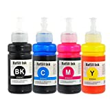 J2INK Compatible 4 Pack EPSON 664 Black Cyan Magenta Yellow New EcoTank Replacement Ink Bottles