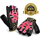 Women Weightlifting Gloves for Crossfit Cycle Gym Training - Women Fitness Workout Gloves for Weight Lifting Biking Exercise W. Wrist Closure - Enhance Your Grip and Eliminate Blisters & Calluses - 1 Year Replacement Warranty and Bonus