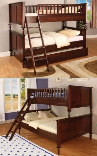 Inland Empire Furniture Radcliff I Cherry Solid Wood Twin/Full Bunk Bed  With Trundle Bed