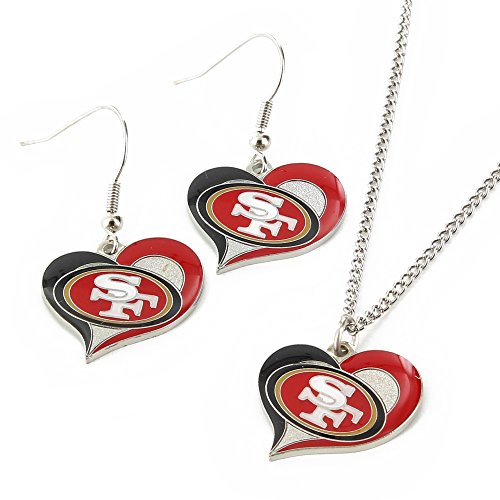 NFL San Francisco 49ers Swirl Heart Earrings & Pendant Set (49ers Francisco Pendant Logo San)