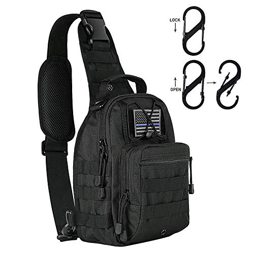KAMI 900D Tactical Sling Bag Pack Military Rover Shoulder Sling Backpack Molle Assault Range Bag Everyday Carry Bag Day Pack Tactical USA Flag Patch Type Tactical D Ring