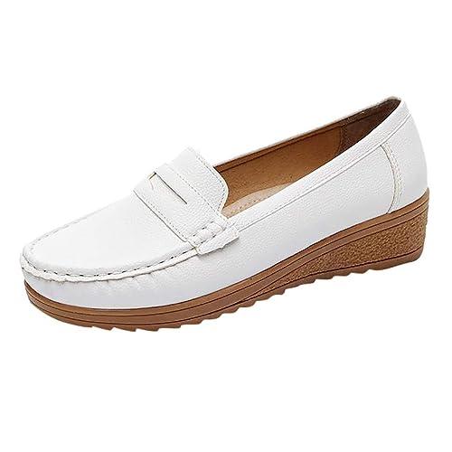 Moda para Mujer Zapatos Cuñas Zapatos de Guisantes Casuales Mocasines de Cuero de la PU Zapatos de conducción sin Cordones: Amazon.es: Zapatos y ...