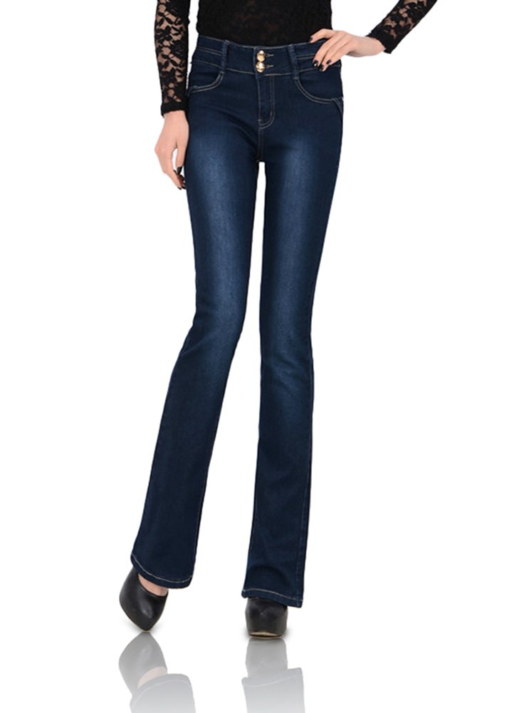 Smibra Womens Stretch Basic Mid Waist Bootcut Distressed Long Denim Jeans