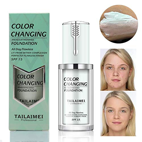 Upgraded TLM Colour Changing Foundation, Flawless Concealer Cover Cream, Warm Skin Tone Foundation, Face Moisturizing Liquid Cover Concealer for Women and Girls (#F130-Natural)