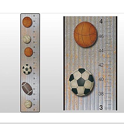 Growth Chart Basketball Baseball Football Soccer Ball Sports Wall Decals  Vinyl Sticker Height Measurement Children Nursery