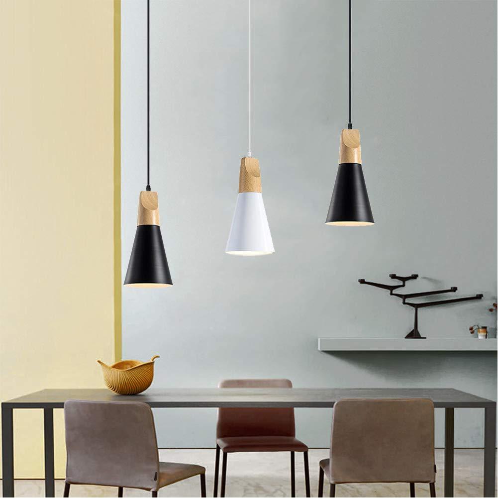 TopDeng Retro Industrielle Suspension luminaire E27 3 t/êtes Pendentif lampe Avec Fer Abat-jour Bois D/écoration Plafond Pour Cuisine Restaurant-noir