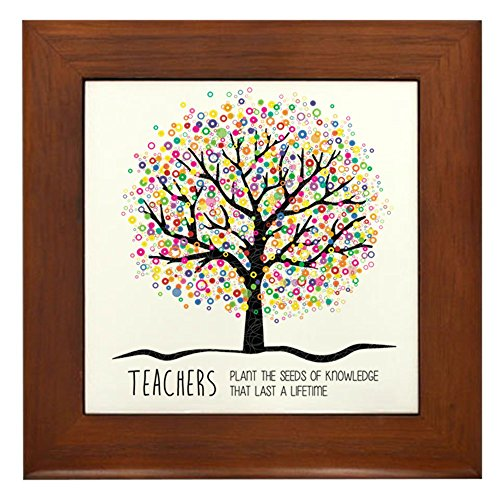 CafePress - Teacher Appreciation Quote - Framed Tile, Decorative Tile Wall Hanging (Framed Teacher)