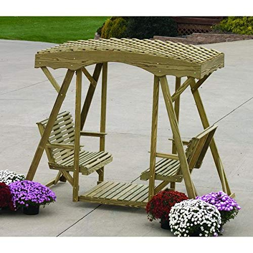 - LuxCraft Rollback Double Lawn Glider with Lattice Roof