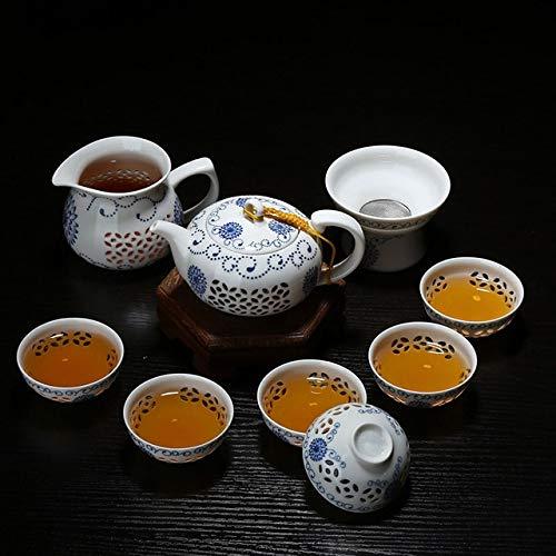 BeesClover 11PCS Hollow Honeycomb Tea Set Blue and White Porcelain Drinkware Ceramic Glass Teacup Teapot Gaiwan Strainer Fair Cup G