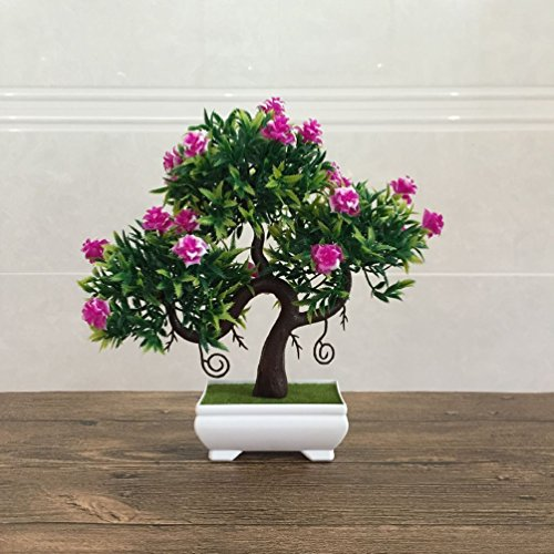 Artificial Fake Flowers Plastic Green Plants Bonsai Tree Desktopdecor