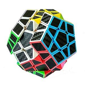 HJXD global Magic Cube Set of 5 Pack Include Meganminx+Skewb+Pyraminx+2x2x2+3x3x3 Carbon Fiber Sticker Puzzle cube Black