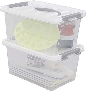 Saedy Clear Plastic Storage Bins/Containers, Multi-purpose Storage Box 6 Quart, Set of 2