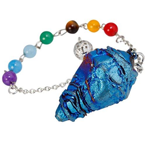 TUMBEELLUWA Healing Crystal Quartz 7 Chakra Pendulum Dowsing Gemstone Divination Reiki Stone,Blue