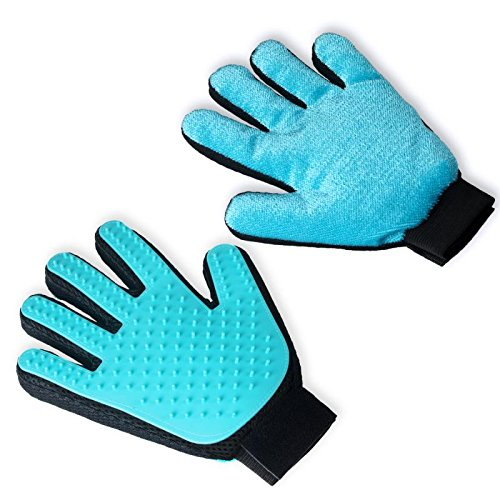 Koopman Upgraded 2-in-1 Pet Grooming Glove + Furniture Pet Hair Remover Mitt, Cat & Dog Gentle Deshedding Glove Brush, Pet Hair Remover Groomer Mitt with Soft Rubber Tips for Massage