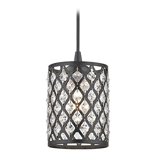Crystal Matte Black & Phoenix Cord Hung Mini-Pendant Light (1 Light Cord Hung Pendant)