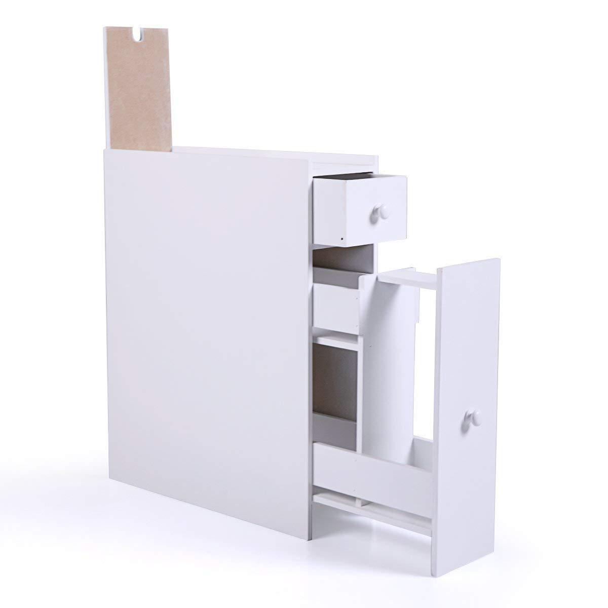 JAXPETY White Bathroom Floor Cabinet Organizer Bath Toilet Cabinets Drawers Stand Space Saver Storage