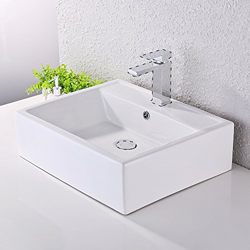 KES Bathroom Sink, Vessel Sink Porcelain 20 Inch Above Counter White Countertop Bowl Sink for Lavatory Vanity Cabinet Contemporary Style, (White Porcelain Single Bowl)