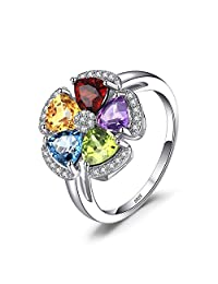 JewelryPalace 2.6ct Genuine Gemstone Swiss Blue Topaz?Amethyst?Citrine?Garnet?Peridot Ring 925 Sterling Silver
