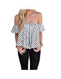 Doinshop Women Off Shoulder Stripe Casual Blouse Short Loose Shirt Tops