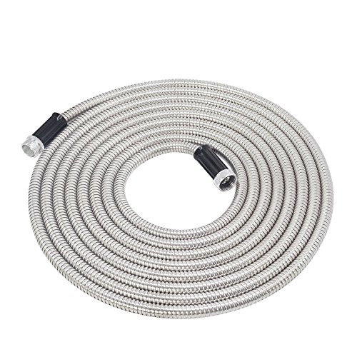 Lite Hose - Touch-Rich 25' 201 Stainless Steel Garden Hose, Lightweight Metal Hose, Guaranteed Flexible and Kink Free (25FT) (25FT SS Lite)