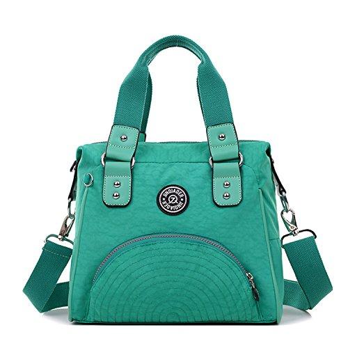 Outreo Bolso Bandolera Mujer Bolsos de Moda Bolsas de Viaje Sport Messenger Bag Escolares Impermeable Bolsos Baratos Mano para Tablet Nylon Verde