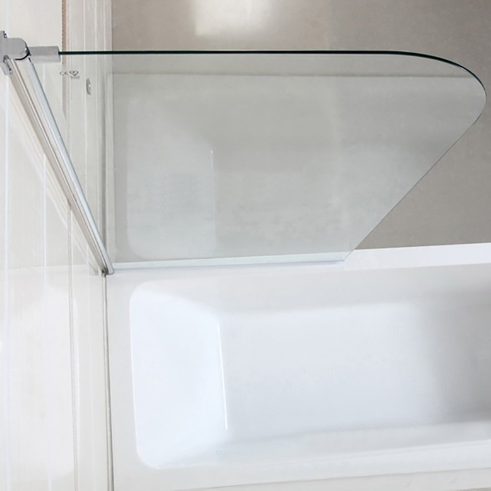 Mecor 55''X31'' Bathtub Shower Door 1/4'' Clear Glass Hinged Pivot Radius Frameless Chrome Finish by mecor (Image #7)