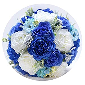 TaeHyung Blue Ivory Bridal Bouquet Bouquet Artificial Vintage Wedding Bouquets for Brides 2019 Bridesmaid Flower,Picture Color 25