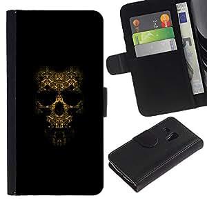 JackGot ( Modelo del cráneo )Samsung Galaxy S3 MINI i8190 (NOT S3) la tarjeta de Crédito Slots PU Funda de cuero Monedero caso cubierta de piel