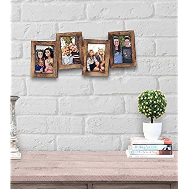 Store Indya Exclusive Collage Picture Frames for Wall Hand Crafted Wooden Personalized Photo Frames with 4 Openings (4 X 6)