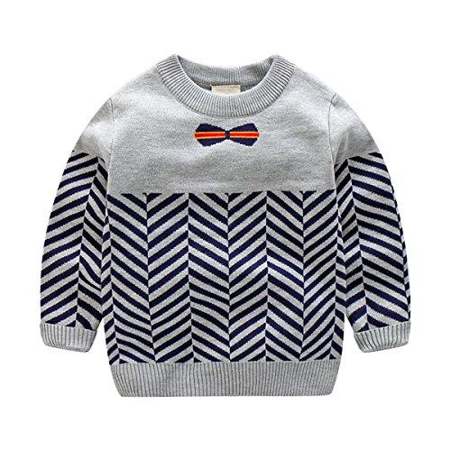 Baby Boys Kids Long Sleeve Round Neck Bowknot Zebra Sweater Sweatshirt Tops 5T