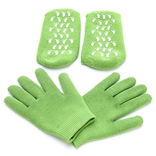 (Evelyn's Care Moisturizing Gel Gloves and Socks Bundle Made of Cotton for Dry and Cracked Skin Repair, Soften Your Hands and Feet for a Gentle Feel, One Size Fit All)