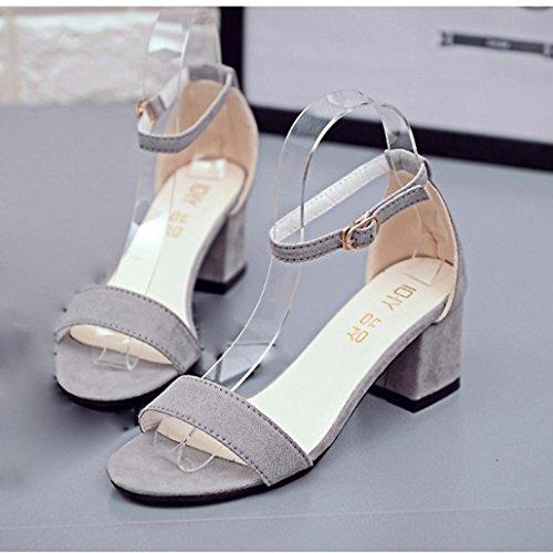 Donne robusto singola grigio pattini sandalo i alla Koly con tallone caviglia sandali Band estivi dei cinturino dXnZBqUE