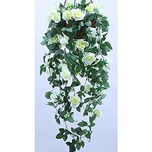 Lopkey Artificial Rose Hanging Basket Decorative Silk Plant 85